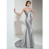 Mermaid Sweetheart Court Train Taffeta Evening Dress With Ruffle Beading (017021129)