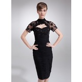 Sheath High Neck Knee-Length Chiffon Tulle Mother of the Bride Dress With Ruffle Lace Beading (008005964)