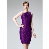 Sheath One-Shoulder Knee-Length Organza Cocktail Dress With Ruffle (016002971)