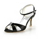Satin Spool Heel Slingbacks Sandals Wedding Shoes With Rhinestone (047025059)