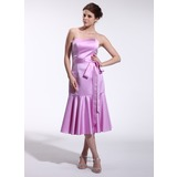 Sheath Sweetheart Tea-Length Satin Bridesmaid Dress (007026265)
