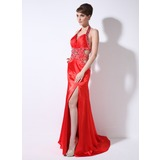 Sheath Sweetheart Watteau Train Charmeuse Prom Dress With Ruffle Beading (018005255)