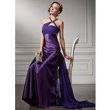 Sheath V-neck Watteau Train Chiffon Charmeuse Prom Dress With Ruffle Beading (018004881)