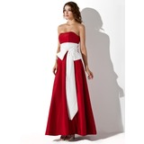 Empire Strapless Floor-Length Taffeta Bridesmaid Dress With Sash (007004271)