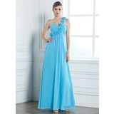 Empire One-Shoulder Floor-Length Chiffon Evening Dress With Ruffle Flower(s) (017004353)