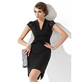 Sheath V-neck Short/Mini Satin Mother of the Bride Dress With Ruffle (008013763)