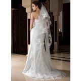 Uma camada Borda com aplicação de renda Catedral véus de noivas com Aplicação (006036776)