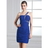Sheath One-Shoulder Short/Mini Chiffon Holiday Dress With Ruffle Beading (020003281)