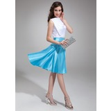 A-Line/Princess Cowl Neck Knee-Length Charmeuse Cocktail Dress With Ruffle (016008525)