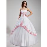 Corte de baile Escote redondo Hasta el suelo Tul Vestido de quinceañera con Bordado Volantes Bordado (021002279)