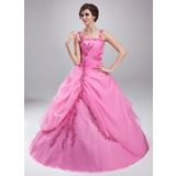 Ball-Gown Square Neckline Floor-Length Organza Quinceanera Dress With Ruffle Lace Beading (021018807)