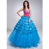 Duchesse-Linie Herzausschnitt Bodenlang Satin Tüll Pailletten Quinceañera Kleid (Kleid für die Geburtstagsfeier) mit Perlen verziert Gestufte Rüschen
