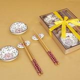 Hübsche Sakura Entwurf Keramik/Bambus Besteck-Set
