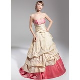 Ball-Gown Sweetheart Sweep Train Taffeta Quinceanera Dress With Ruffle Lace