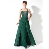 A-Linie/Princess-Linie Herzausschnitt Bodenlang Chiffon Kleid für die Brautmutter mit Rüschen Perlen verziert Pailletten