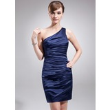 Etui-Linie One-Shoulder-Träger Kurz/Mini Charmeuse Kleid für die Brautmutter mit Rüschen