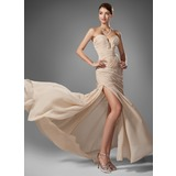 Sheath Sweetheart Sweep Train Chiffon Prom Dress With Ruffle Beading (018005251)