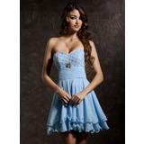 A-Line/Princess Sweetheart Short/Mini Chiffon Homecoming Dress With Ruffle Beading
