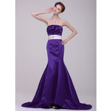 Mermaid Strapless Court Train Satin Evening Dress With Sash Beading (017016205)