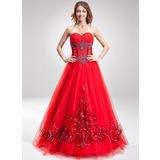 A-Linie/Princess-Linie Herzausschnitt Bodenlang Tüll Quinceañera Kleid (Kleid für die Geburtstagsfeier) mit Bestickt Perlen verziert Pailletten