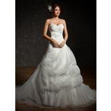 Duchesse-Linie Herzausschnitt Kapelle-schleppe Satin Organza Brautkleid mit Rüschen Perlen verziert Applikationen Spitze Pailletten