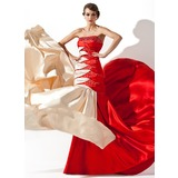 Sheath Strapless Court Train Charmeuse Prom Dress With Ruffle Beading Sequins (018005066)
