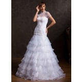 A-Line/Princess High Neck Floor-Length Organza Tulle Wedding Dress With Lace Beadwork (002015170)