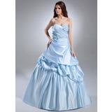 Duchesse-Linie Herzausschnitt Hof-schleppe Satin Quinceañera Kleid (Kleid für die Geburtstagsfeier) mit Rüschen Perlen verziert Blumen