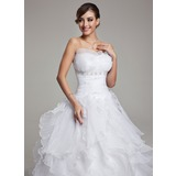 Ball-Gown Scalloped Neck Chapel Train Organza Wedding Dress With Beading Cascading Ruffles Pleated