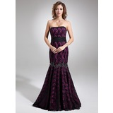 Trumpet/Mermaid Strapless Sweep Train Charmeuse Lace Evening Dress With Beading Bow(s)