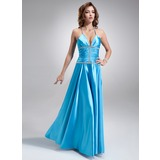 A-Line/Princess Halter Floor-Length Charmeuse Prom Dress With Ruffle Beading