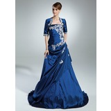 A-Line/Princess Strapless Sweep Train Taffeta Quinceanera Dress With Ruffle Beading Appliques Lace Sequins