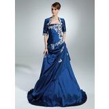 A-Linie/Princess-Linie Trägerlos Sweep/Pinsel zug Taft Quinceañera Kleid (Kleid für die Geburtstagsfeier) mit Rüschen Perlen verziert Applikationen Spitze Pailletten
