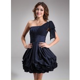 A-Line/Princess One-Shoulder Knee-Length Chiffon Taffeta Cocktail Dress With Ruffle (016008242)