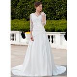A-Line/Princess V-neck Chapel Train Taffeta Tulle Wedding Dress With Ruffle Lace Beading