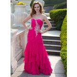 Mermaid Sweetheart Floor-Length Chiffon Prom Dress With Ruffle Beading (018024656)