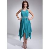 A-Linie/Princess-Linie Rechteckiger Ausschnitt Asymmetrisch Chiffon Festliche Kleid mit Rüschen Perlen verziert