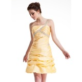 A-Line/Princess One-Shoulder Short/Mini Taffeta Homecoming Dress With Ruffle Beading Sequins (022004635)