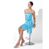 Sheath Strapless Knee-Length Satin Bridesmaid Dress With Sash (007013112)