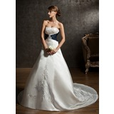 Ball-Gown Sweetheart Chapel Train Satin Wedding Dress With Embroidered Sash Beading