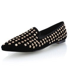Real Leather Flat Heel Flats Closed Toe With Rivet shoes