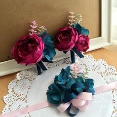 Seda artificiais Conjuntos de flores (conjunto de 2) - Buquê de pulso/Alfinete de lapela