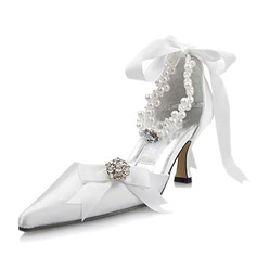 Satin Spool Heel Closed Toe Pumps Wedding Shoes With Imitation Pearl Rhinestone Ribbon Tie (047004903)
