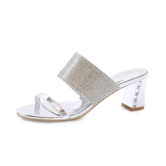 Women's Patent Leather Chunky Heel Sandals Slippers With Rhinestone shoes