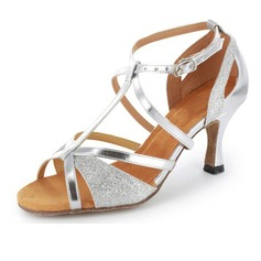 Sparkling Glitter Patent Leather Heels Sandals Latin Salsa Wedding Party Dance Shoes With T-Strap (053020378)