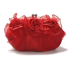 Red Gorgeous Satin/ Tulle Shell Evening Handbags/ Clutches More Colors Available(012005449)