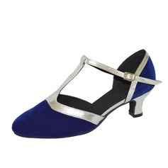 Women's Suede Heels Pumps Modern With T-Strap Dance Shoes