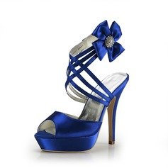 Satin Stiletto Heel Sandals Platform With Rhinestone Satin Flower shoes