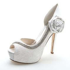 Women's Lace Stiletto Heel Peep Toe Pumps Sandals With Rhinestone Satin Flower