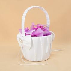 Tyylikäs Flower Basket sisään Satiini jossa Nauhat & Faux Helmi